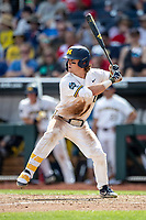 Michigan Wolverines outfielder Jesse Franklin (7) at bat during Game 1 of the NCAA College World Series against the Texas Tech Red Raiders on June 15, 2019 at TD Ameritrade Park in Omaha, Nebraska. Michigan defeated Texas Tech 5-3. (Andrew Woolley/Four Seam Images)
