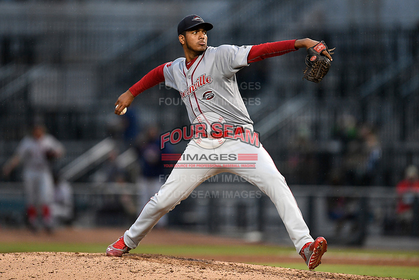 Pitcher Denyi Reyes (41) of the Greenville Drive used just 92 pitches to post a nine-inning complete-game shutout against the Columbia Fireflies on Sunday, May 27, 2018, at Spirit Communications Park in Columbia, South Carolina. Greenville won, 3-0. It was the first complete-game shutout in the South Atlantic League this season.(Tom Priddy/Four Seam Images)