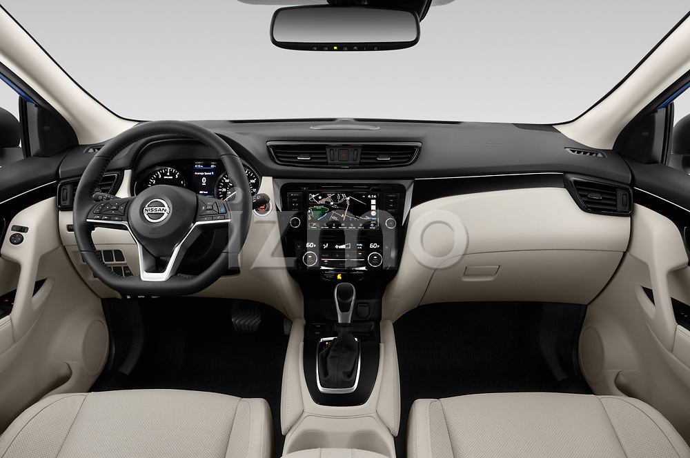 Stock photo of straight dashboard view of a 2019 Nissan Rogue Sport SL 5 Door SUV