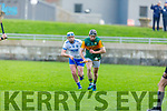 Kerry captain Bryan Murphy clears his defence as Stephen Bennett of Waterford gives chase,in the Munster Senior Hurling League in Austin Stack Park on Sunday