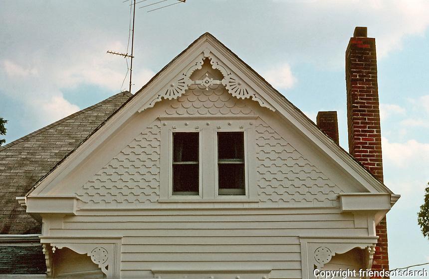 Augusta:  House-roofline, detail.  Queen Anne style (Victorian).  Photo '77.