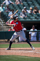 Tacoma Rainiers third baseman Seth Mejias-Brean (21) at bat during a Pacific Coast League game against the Sacramento RiverCats at Raley Field on May 15, 2018 in Sacramento, California. Tacoma defeated Sacramento 8-5. (Zachary Lucy/Four Seam Images)