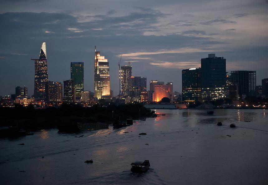 Saigon skyline after sunset