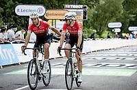 After a big crash with 7km to go Daniel McLay (GBR/Arkéa Samsic) & Clément Russo (FRA/Arkéa Samsic) roll in together<br /> <br /> Stage 1 from Brest to Landerneau (198km)<br /> 108th Tour de France 2021 (2.UWT)<br /> <br /> ©kramon