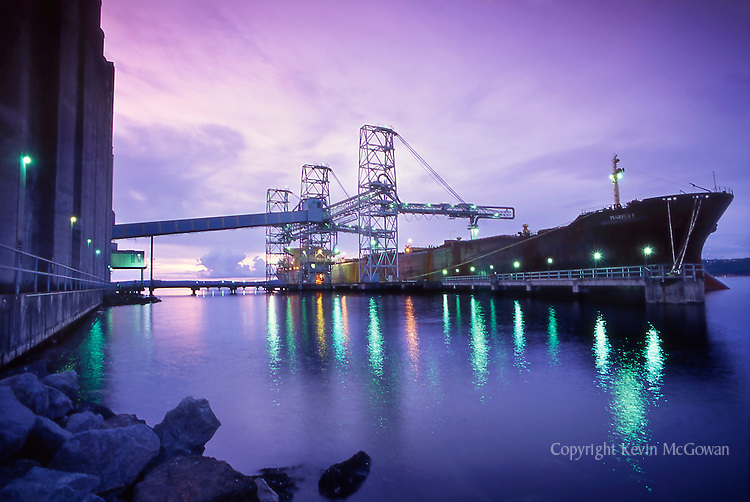 Grain Ship loading at Port of Tacoma at sunset