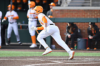 University of Tennessee Landon Gray (19) runs to first base during a game against Western Illinois at Lindsey Nelson Stadium on February 15, 2020 in Knoxville, Tennessee. The Volunteers defeated Leathernecks 19-0. (Tony Farlow/Four Seam Images)