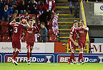 Aberdeen v St Johnstone…22.09.16.. Pittodrie..  Betfred Cup<br />Adam Rooney celebrates his goal<br />Picture by Graeme Hart.<br />Copyright Perthshire Picture Agency<br />Tel: 01738 623350  Mobile: 07990 594431