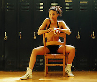 multi ethnic woman in gym locker room
