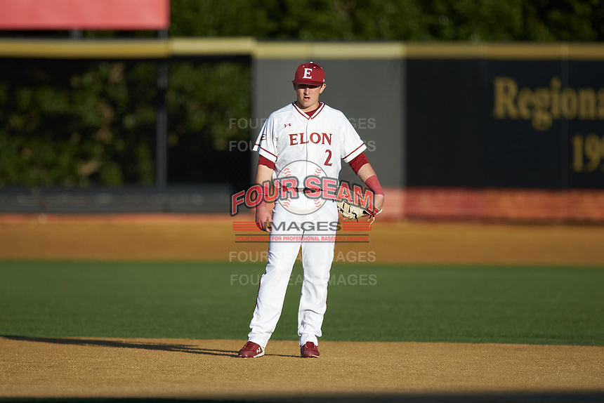 Elon Phoenix first baseman Joe Satterfield (2) on defense against the Quinnipiac Bobcats at David F. Couch Ballpark on February 24, 2019 in  Winston-Salem, North Carolina. (Brian Westerholt/Four Seam Images)