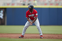 Zavier Warren (6) of the Carolina Mudcats takes his lead off of first base against the Kannapolis Cannon Ballers at Atrium Health Ballpark on June 13, 2021 in Kannapolis, North Carolina. (Brian Westerholt/Four Seam Images)