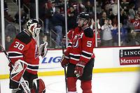 Goalie Martin Brodeur (Devils) mit Colin White (Devils)<br /> New Jersey Devils vs. Florida Panthers<br /> *** Local Caption *** Foto ist honorarpflichtig! zzgl. gesetzl. MwSt. Auf Anfrage in hoeherer Qualitaet/Aufloesung. Belegexemplar an: Marc Schueler, Am Ziegelfalltor 4, 64625 Bensheim, Tel. +49 (0) 6251 86 96 134, www.gameday-mediaservices.de. Email: marc.schueler@gameday-mediaservices.de, Bankverbindung: Volksbank Bergstrasse, Kto.: 151297, BLZ: 50960101