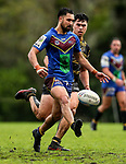 George Edwards of Howick makes a break. Fox Memorial Rugby League, Northcote Tigers v Howick Hornets, Birkenhead War Memorial Park Auckland, Saturday 22nd July 2017. Photo: Simon Watts / www.bwmedia.co.nz