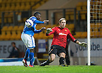 St Johnstone v Motherwell......27.10.13      SPFL<br /> Nigel Hasselbaink is blocked by Gunnar Neilsen<br /> Picture by Graeme Hart.<br /> Copyright Perthshire Picture Agency<br /> Tel: 01738 623350  Mobile: 07990 594431