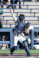 Michigan Wolverines catcher Griffin Mazur (13) makes a throw to second base against the Michigan State Spartans on March 21, 2021 in NCAA baseball action at Ray Fisher Stadium in Ann Arbor, Michigan. Michigan scored 8 runs in the bottom of the ninth inning to defeat the Spartans 8-7. (Andrew Woolley/Four Seam Images)