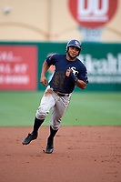 Charlotte Stone Crabs right fielder Angel Moreno (1) running the bases during a game against the Palm Beach Cardinals on July 22, 2017 at Roger Dean Stadium in Palm Beach, Florida.  Charlotte defeated Palm Beach 5-2.  (Mike Janes/Four Seam Images)