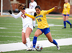 BROOKINGS, SD - MARCH 14: Kaycee Manding #25 from South Dakota State battles for the ball with Sami Feller #18 from Denver during their match at Dana J. Dykhouse Stadium on March 14, 2021 in Brookings, South Dakota. (Photo by Dave Eggen/Inertia)