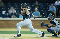 Stuart Fairchild (4) of the Wake Forest Demon Deacons launches a 2-run home run to right field during the game against the West Virginia Mountaineers in Game Six of the Winston-Salem Regional in the 2017 College World Series at David F. Couch Ballpark on June 4, 2017 in Winston-Salem, North Carolina.  The Demon Deacons defeated the Mountaineers 12-8.  (Brian Westerholt/Four Seam Images)