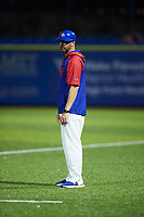 High Point Rockers coach Billy Horn coaches first base during the game against the Southern Maryland Blue Crabs at Truist Point on June 18, 2021, in High Point, North Carolina. (Brian Westerholt/Four Seam Images)