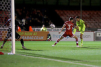 Ruel Sotiriou of Leyton Orient scores the third goal for his team during Crawley Town vs Leyton Orient, Papa John's Trophy Football at The People's Pension Stadium on 5th October 2021
