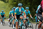 The peloton including Omar Fraile (ESP) Astana climb the 1st Col during Stage 3 of the Route d'Occitanie 2020, running 163.5km from Saint-Gaudens to Col de Beyrède, France. 3rd August 2020. <br /> Picture: Colin Flockton | Cyclefile<br /> <br /> All photos usage must carry mandatory copyright credit (© Cyclefile | Colin Flockton)