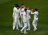 27th May 2021; Emirates Old Trafford, Manchester, Lancashire, England; County Championship Cricket, Lancashire versus Yorkshire, Day 1; Luke Wood of Lancashire celebrates his second wicket, having Jordan Thompsonof Yorkshire caught by Keaton Jennings for 10 to leave Yorkshire on 40-7 shortly before the lunch interval