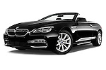 Stock pictures of low aggressive front three quarter view of 2016 BMW 6 Series 640i Black Accent Pkg 2 Door Convertible Low Aggressive