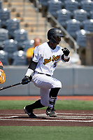 West Virginia Black Bears Matthew Fraizer (52) bats during a NY-Penn League game against the Batavia Muckdogs on August 29, 2019 at Monongalia County Ballpark in Morgantown, New York.  West Virginia defeated Batavia 5-4 in ten innings.  (Mike Janes/Four Seam Images)
