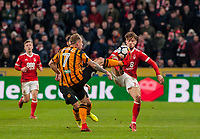 Nottingham Forest's midfielder Matty Cash (14) and Hull City's midfielder Kamil Grosicki (7) challenge for the ball during the FA Cup 4th round match between Hull City and Nottingham Forest at the KC Stadium, Kingston upon Hull, England on 27 January 2018. Photo by Stephen Buckley / PRiME Media Images.