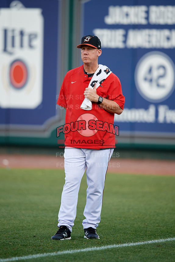 Richmond Flying Squirrels pitching coach Glenn Dishman (5) before a game against the Trenton Thunder on May 11, 2018 at The Diamond in Richmond, Virginia.  Richmond defeated Trenton 6-1.  (Mike Janes/Four Seam Images)