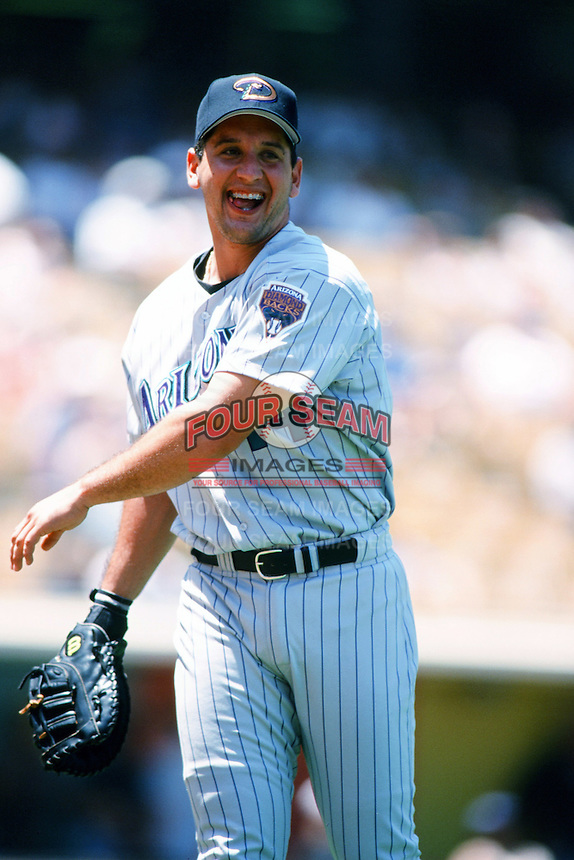Erubiel Durazo of the Arizona Diamondbacks throws before a 1999 season Major League Baseball game against the Los Angeles Dodgers at Dodger Stadium in Los Angeles, California. (Larry Goren/Four Seam Images)
