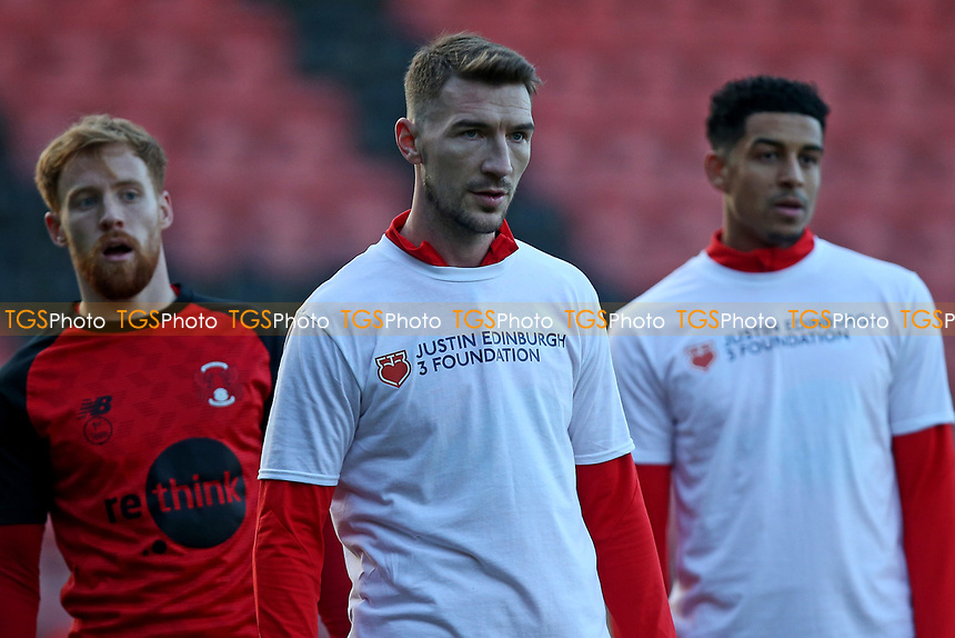Craig Clay of Leyton Orient wears a t-shirt in support of the Justin Edinburgh 3 Foundation during Leyton Orient vs Crawley Town, Sky Bet EFL League 2 Football at The Breyer Group Stadium on 19th December 2020