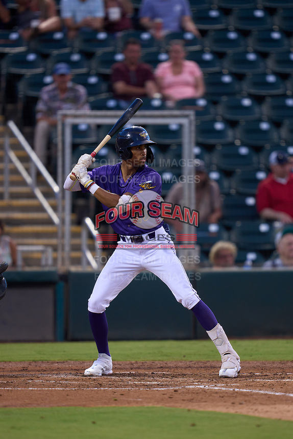 Fort Myers Mighty Mussels Justin Washington (23) bats during a game against the St. Lucie Mets on June 3, 2021 at Hammond Stadium in Fort Myers, Florida.  (Mike Janes/Four Seam Images)