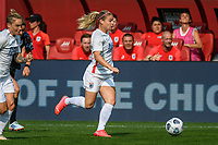 BRIDGEVIEW, IL - JULY 18: Eugenie Le Sommer #9 of the OL Reign dribbles the ball during a game between OL Reign and Chicago Red Stars at SeatGeek Stadium on July 18, 2021 in Bridgeview, Illinois.