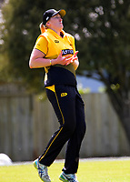 Rebecca Burns catches Anlo van Deventer during the women's Hallyburton Johnstone Shield one-day cricket match between the Wellington Blaze and Central Hinds at Donnelly Park in Levin, New Zealand on Sunday, 6 December 2020. Photo: Dave Lintott / lintottphoto.co.nz
