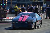 Oct. 28, 2012; Las Vegas, NV, USA: NHRA pro mod driver Leah Pruett during the Big O Tires Nationals at The Strip in Las Vegas. Mandatory Credit: Mark J. Rebilas-
