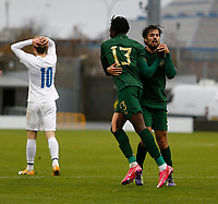 15th November 2020; Tallaght Stadium, Dublin, Leinster, Ireland; 2021 Under 21 European Championships Qualifier, Ireland Under 21 versus Iceland U21; Joshua Kayode and Zack Elbouzedi celebrate Republic of Irelands equalising goalfrom an own goal by Iceland