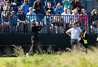 140719 | The 148th Open - Sunday Practice<br /> <br /> Tiger Woods plays into the par 3 13th green during practice for the 148th Open Championship at Royal Portrush Golf Club, County Antrim, Northern Ireland. Photo by John Dickson - DICKSONDIGITAL