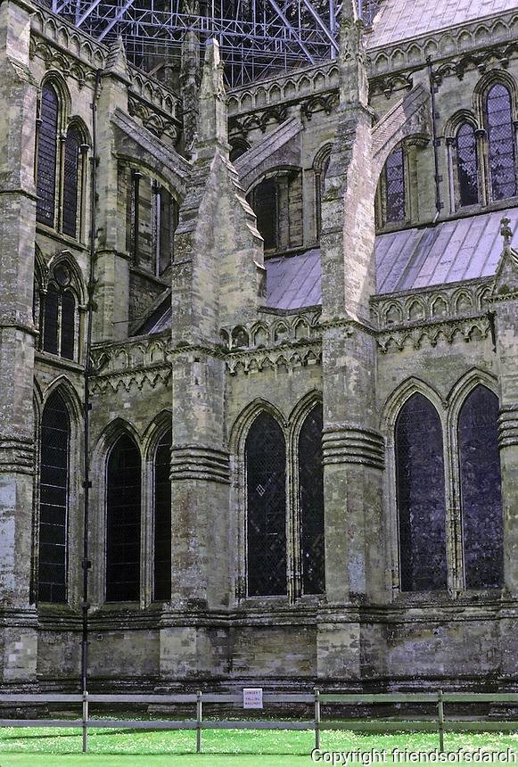 Salisbury: Salisbury Cathedral--Nave and North Transept. Photo '90.