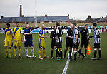 Chorley 2 Altrincham 0, 21/01/2017. Victory Park, National League North. The players shaking hands on to the pitch at Victory Park, before Chorley played Altrincham (in yellow) in a Vanarama National League North fixture. Chorley were founded in 1883 and moved into their present ground in 1920. The match was won by the home team by 2-0, watched by an above-average attendance of 1127. Photo by Colin McPherson.