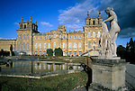 United Kingdom, England, Oxfordshire, Woodstock: Pond and gardens at Blenheim Palace