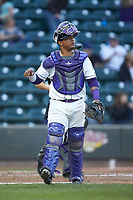 Winston-Salem Dash catcher Yermin Mercedes (6) on defense against the Salem Red Sox at BB&T Ballpark on April 21, 2018 in Winston-Salem, North Carolina.  The Dash walked-off the Red Sox 4-3.  (Brian Westerholt/Four Seam Images)