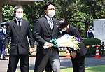 August 15, 2020, Tokyo, Japan - Japanese Environment Minister Shinjiro Koizumi holds a flower bouquet to offer for war victims at the Chitorigafuchi National Cemetery in Tokyo on Saturday, August 15, 2020. Japan marked the 75th anniversary of its surrender of World War II.        (Photo by Yoshio Tsunoda/AFLO)