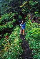 Hikers in Hawaii Volcanoes National Park, Big Island of Hawaii.