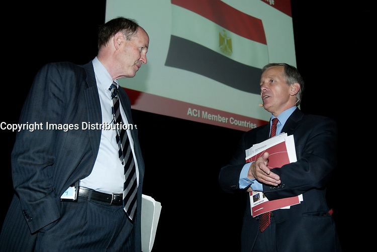Montreal (QC) CANADA, May 4, 2007-<br /> <br /> <br /> David Dodge, the<br /> Governor of the Bank of Canada (L)<br /> chat with David W Clark, Honorary President, ACI UK, (R), before adressing ACI - The Financial Markets<br /> Association, May 4, 2007, during their convention in Montreal, Canada.<br /> <br /> <br /> photo : (c) images Distribution