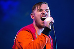 © Joel Goodman - 07973 332324 . 06/06/2015. Manchester , UK . JONATHAN HIGGS . Everything Everything perform on the Big Top stage at The Parklife 2015 music festival in Heaton Park , Manchester . Photo credit : Joel Goodman