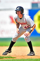 15 July 2010: Aberdeen IronBirds' infielder Adam Gaylord in action against the Vermont Lake Monsters at Centennial Field in Burlington, Vermont. The Lake Monsters rallied in the bottom of the 9th inning to defeat the IronBirds 7-6 notching their league leading 20th win of the 2010 NY Penn League season. Mandatory Credit: Ed Wolfstein Photo