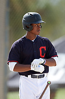 Osiris Johnson (8) while playing for Indians Scout Team based out of Cleveland, Ohio during the WWBA World Championship at the Roger Dean Complex on October 21, 2017 in Jupiter, Florida.  Osiris Johnson is a shortstop / outfielder / pitcher from Alameda, California who attends Encinal High School.  (Mike Janes/Four Seam Images)