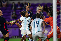 ORLANDO CITY, FL - FEBRUARY 24: Alex Morgan #13 of the USWNT heads the ball during a game between Argentina and USWNT at Exploria Stadium on February 24, 2021 in Orlando City, Florida.
