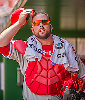 24 May 2015: Philadelphia Phillies catcher Cameron Rupp stands in the dugout prior to a game against the Washington Nationals at Nationals Park in Washington, DC. The Nationals defeated the Phillies 4-1 to take the rubber game of their 3-game weekend series. Mandatory Credit: Ed Wolfstein Photo *** RAW (NEF) Image File Available ***
