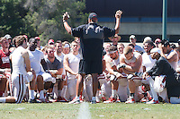 STANFORD,CA-- August 24, 2013: David Shaw, head coach, talks to the team after the open practice at the Dan Elliott Practice Field Saturday.<br /> <br /> It was part the Stanford Football 2013 Open House.